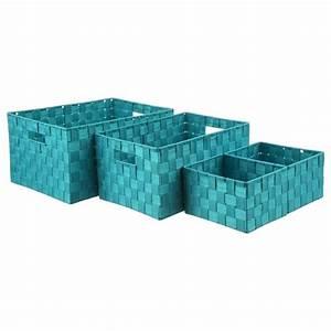 Panier Rangement Salle De Bain : set de 4 paniers de rangement turquoise ~ Teatrodelosmanantiales.com Idées de Décoration
