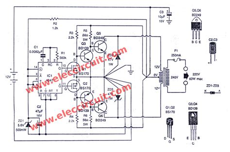 four cd4047 inverter circuit 60w 100w 12vdc to 220vac