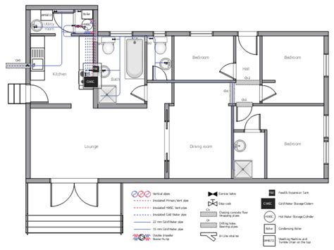 ductwork layout house tap water supply plumbing  piping