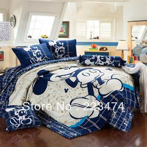 free shipping 100 cotton fashion mickey mouse and minnie queen king size 4pcs bedding set duvet