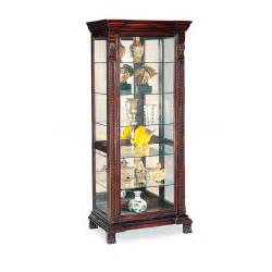 622 45 curio cabinet with ornate edges in dark brown