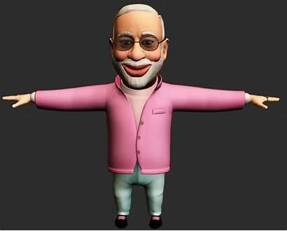 Character 3d Modi Narendra Poly Models Vr