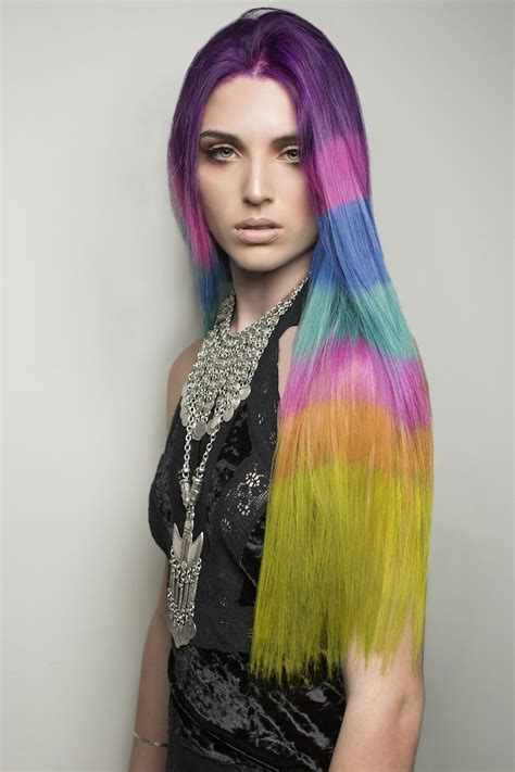 color blocked hair dye trend takes rainbow hair