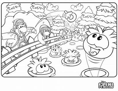 Coloring Penguin Club Pages Printable Puffles Puffle