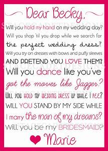 custom printable will you be my bridesmaid or maid of honor With will you be my maid of honor letter