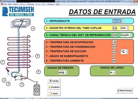 tabla de capilares de refrigeracion tabla de calculo de tubos capilares y calculo de capasidad