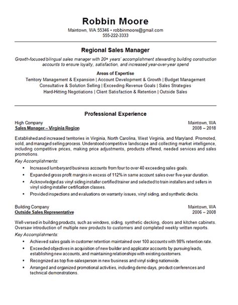 Narrative Resume Sles by Outside Regional Sales Resume Exle Building Supplies