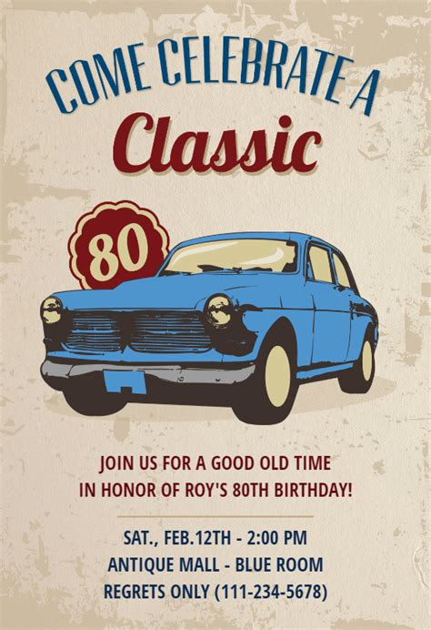 car classic  birthday birthday invitation template