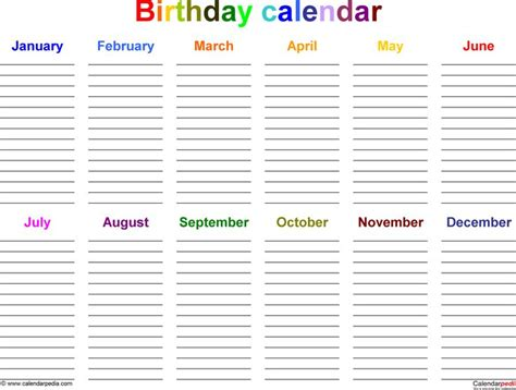 birthday and anniversary calendar template excel template for birthday calendar in color landscape orientation 1 page from www