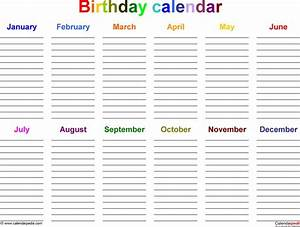 excel template for birthday calendar in color landscape With birthday and anniversary calendar template