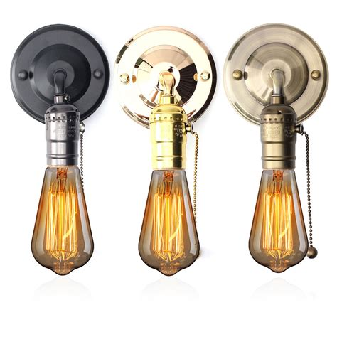 e27 antique vintage wall light chain design sconce l