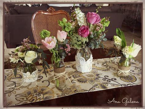 Centro de mesa en frascos estilo vintage Ana Galena