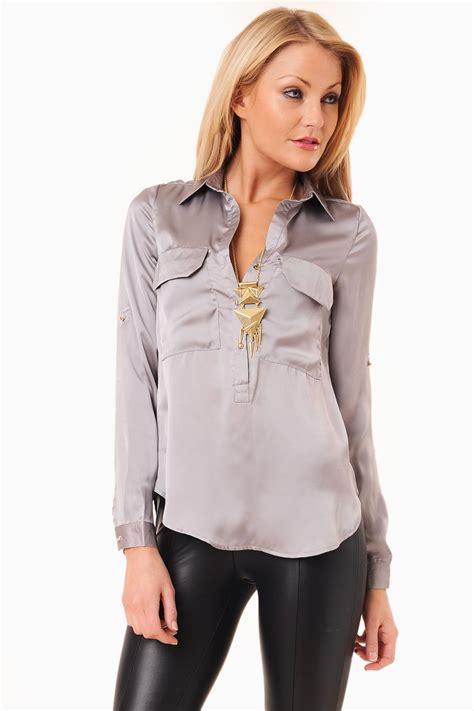 satin blouse maisy satin blouse in silver