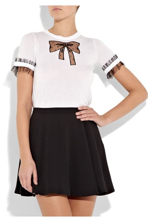 valentino t shirt lyst valentino couture bow embellished modal t shirt in white