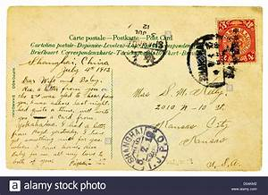 old vintage 1912 postcard with chinese stamp and With old letter stamp