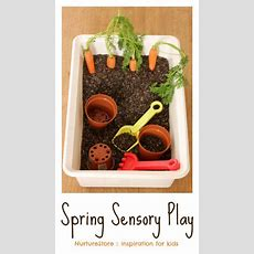 Spring Sensory Play Tub With Carrots  Nurturestorecouk  Sensory Play, Sensory Tubs, Infant