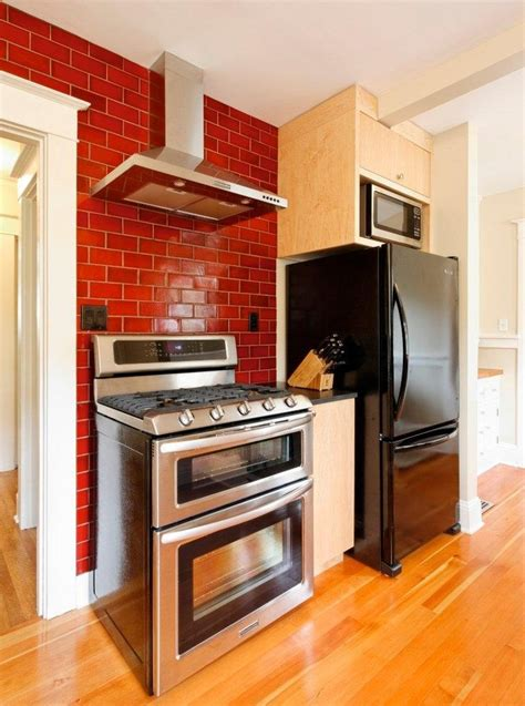 wood flooring for kitchens faux brick backsplash kitchen contemporary with brick 1574