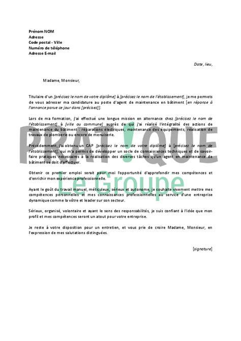 lettre de motivation pour ranger les rayons lettre de motivation pour un emploi d de maintenance en b 226 timent d 233 butant pratique fr