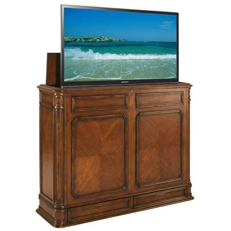 tv lifts cabinets pointe xl brown tv lift cabinet by tvliftcabinet