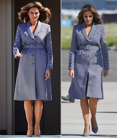 melania trump air force belgium lady hair express donald outfits raising steps she outfit wild arrived husband