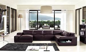 Brown leather sectional sofa with built in coffee table for Sectional sofa with built in table
