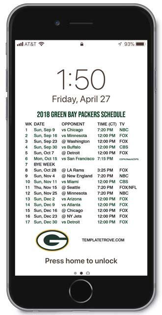 green bay packers lock screen schedule
