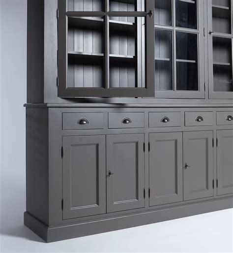 canapé d angle en palette buffet vaisselier bois gris foncé 9 portes 6 tiroirs