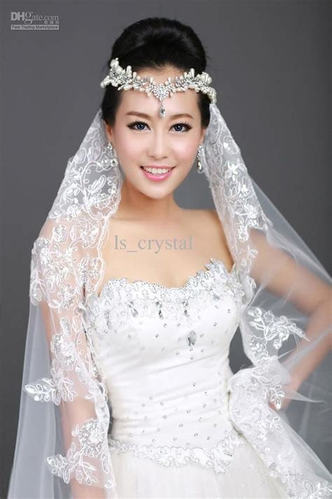 New 1t Ivory Ribbon Lace Bridal Veil Rhinestone Frontlet