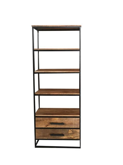 industrial style light mango wood  drawers bookcase