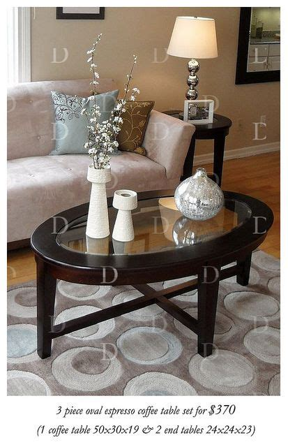 More often than not, no matter how hard we try and how many precautions we take, there comes a time when we need to replace the glass coffee table top. Espresso oval & glass coffee table set | Coffee table, Home furniture, Home decor