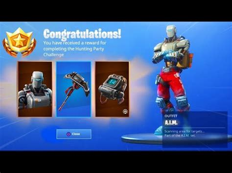 hunting party skin rewards  fortnite aim pickaxe