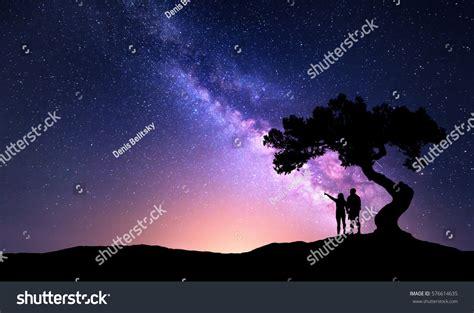 Milky Way People Under Tree On Stock Photo 576614635