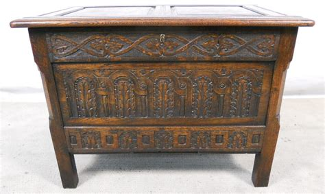 Antique Writing Desks by Antique Jacobean Style Carved Oak Small Blanket Chest Sold