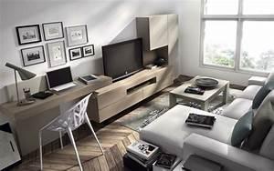 Schreibtisch Im Wohnzimmer : wohnwand mit schreibtisch als arbeitsplatz im wohnzimmer ~ Markanthonyermac.com Haus und Dekorationen