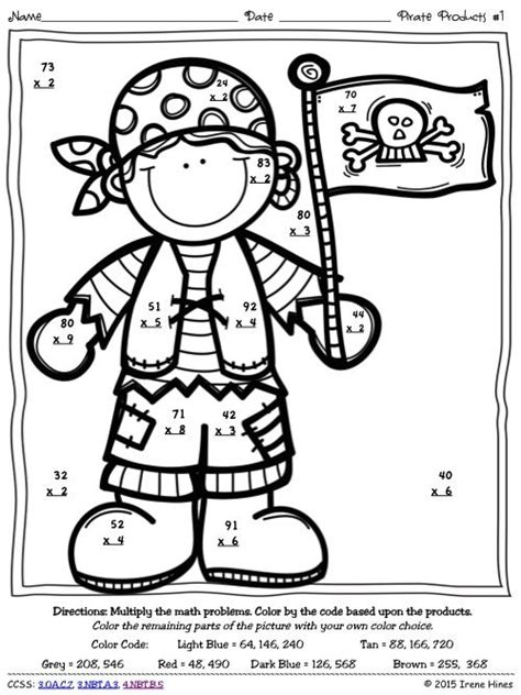 multiplication pirate products  digit   digit color
