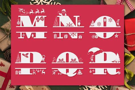christmas monogram letters christmas split letters  anastasia feya fonts svg cut files