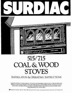 Jotul Surdiac 515 715 Coal  U0026 Wood Stove Owners Manual