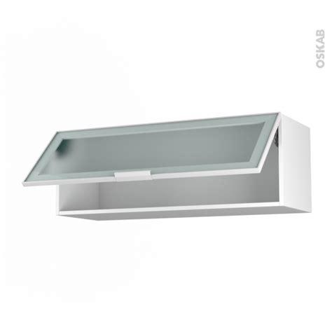 cuisine d 1 jour meuble haut abattant h35 façade blanche alu vitrée 1 porte