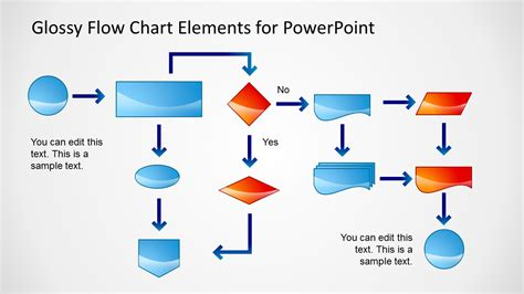 glossy flow chart template  powerpoint slidemodel