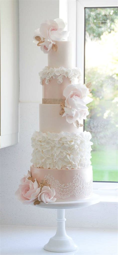 Light Pink And White Flower Wedding Cake Tier Wedding