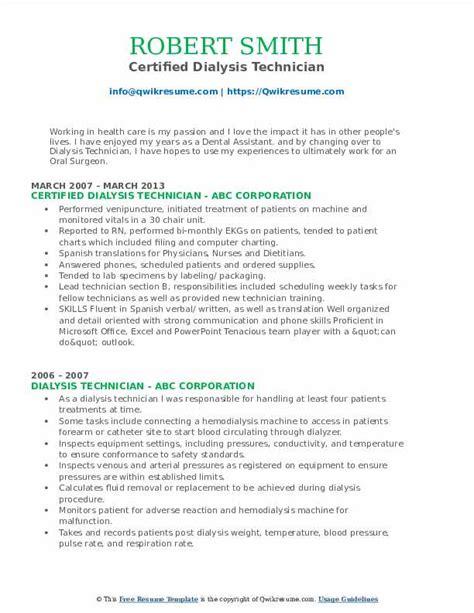 dialysis technician resume samples qwikresume