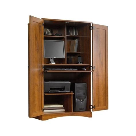 computer armoire wood desk workstation cabinet home office