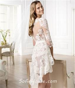 Informal casual modern high low short sleeve lace wedding for Casual lace wedding dress