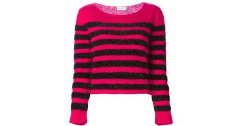 Saint Laurent Striped Sweater In Pink