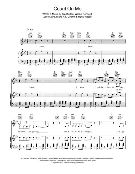 count on me sheet music by chase status piano vocal