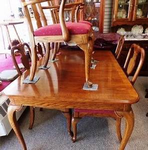Solid Oak Dining Table With 6 Chairs Two Leaves Made By