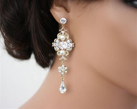 Wedding Jewelry Gold : Chandelier Earrings Gold Bridal Earrings Swarovski White Ivory