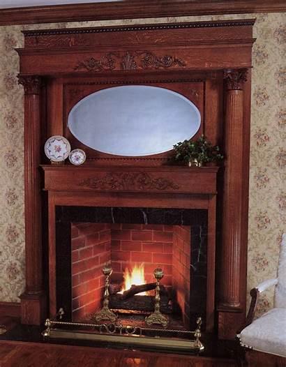 Fireplace Victorian Mantels Mantel Wood Wooden Mirror