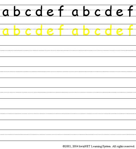 writing practice lower abcdef grade 1