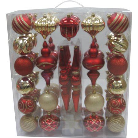 walmart ornaments pack time 54 shatterproof ornament set and gold walmart